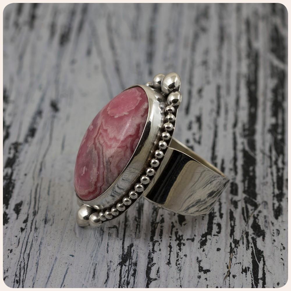 Сребърен пръстен с родохрозит