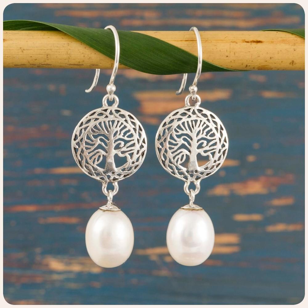 """Сребърни обеци """"Дървото на живота"""" с перла"""