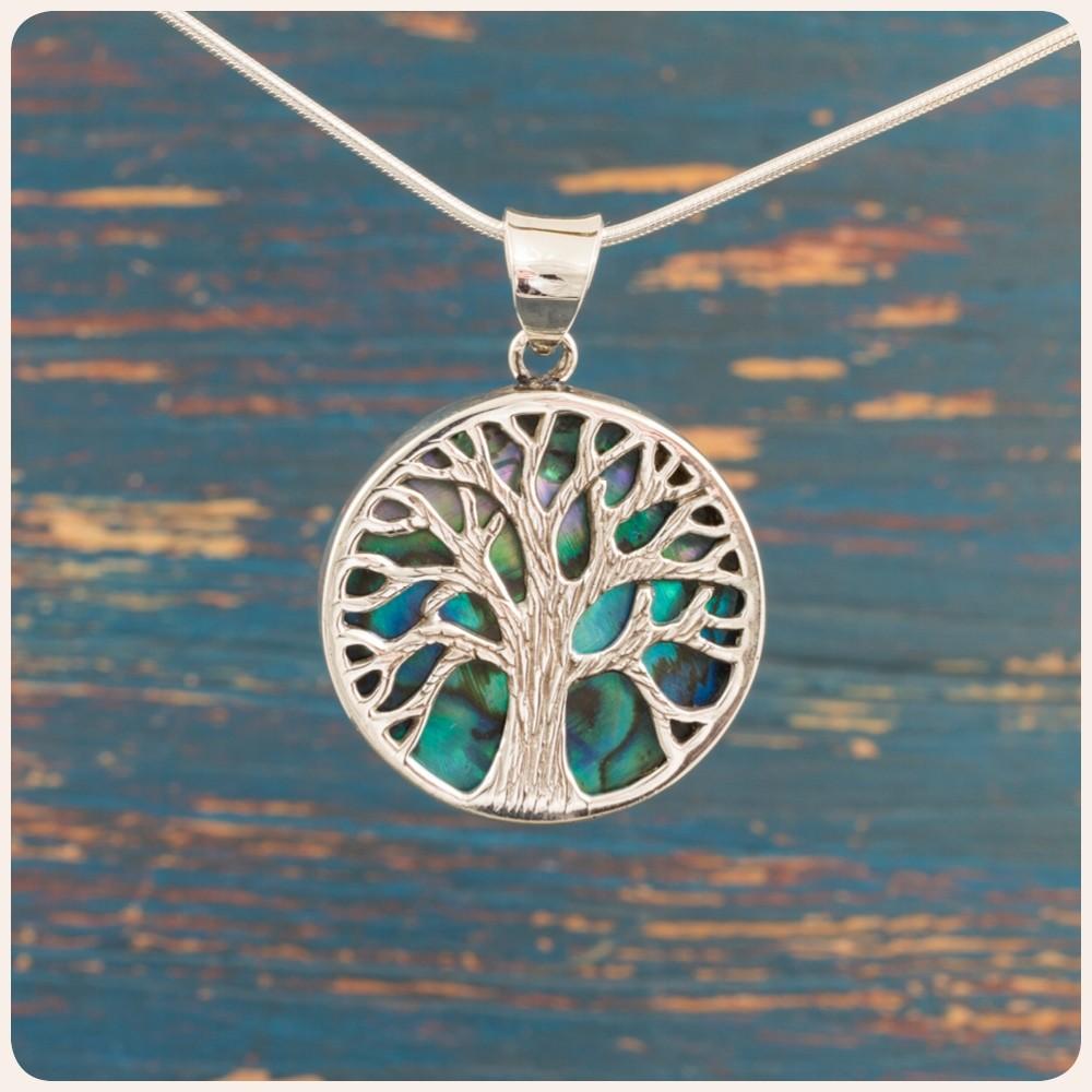 """Сребърен медальон """" Дървото на живота"""" върху океански абалон"""