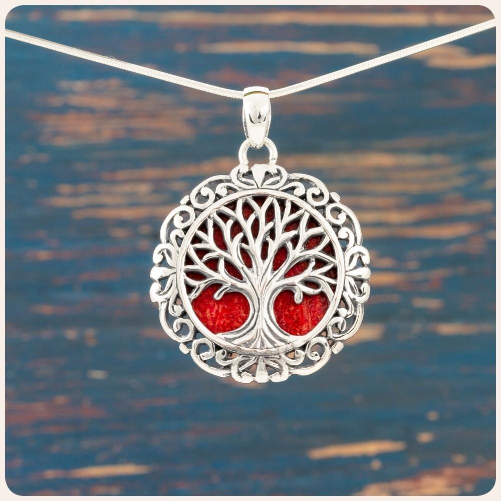 """Сребърен медальон """"Дървото на живота"""" върху корал"""