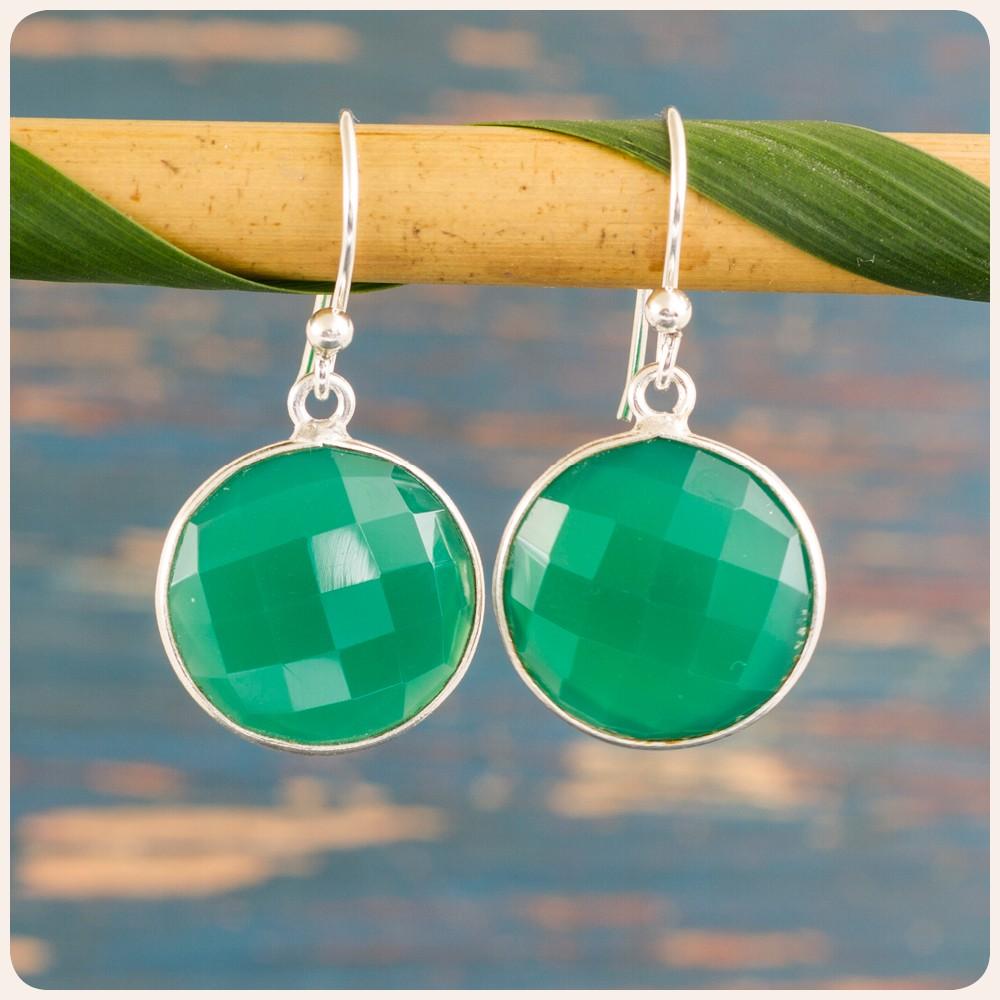Сребърни обеци със зелен оникс
