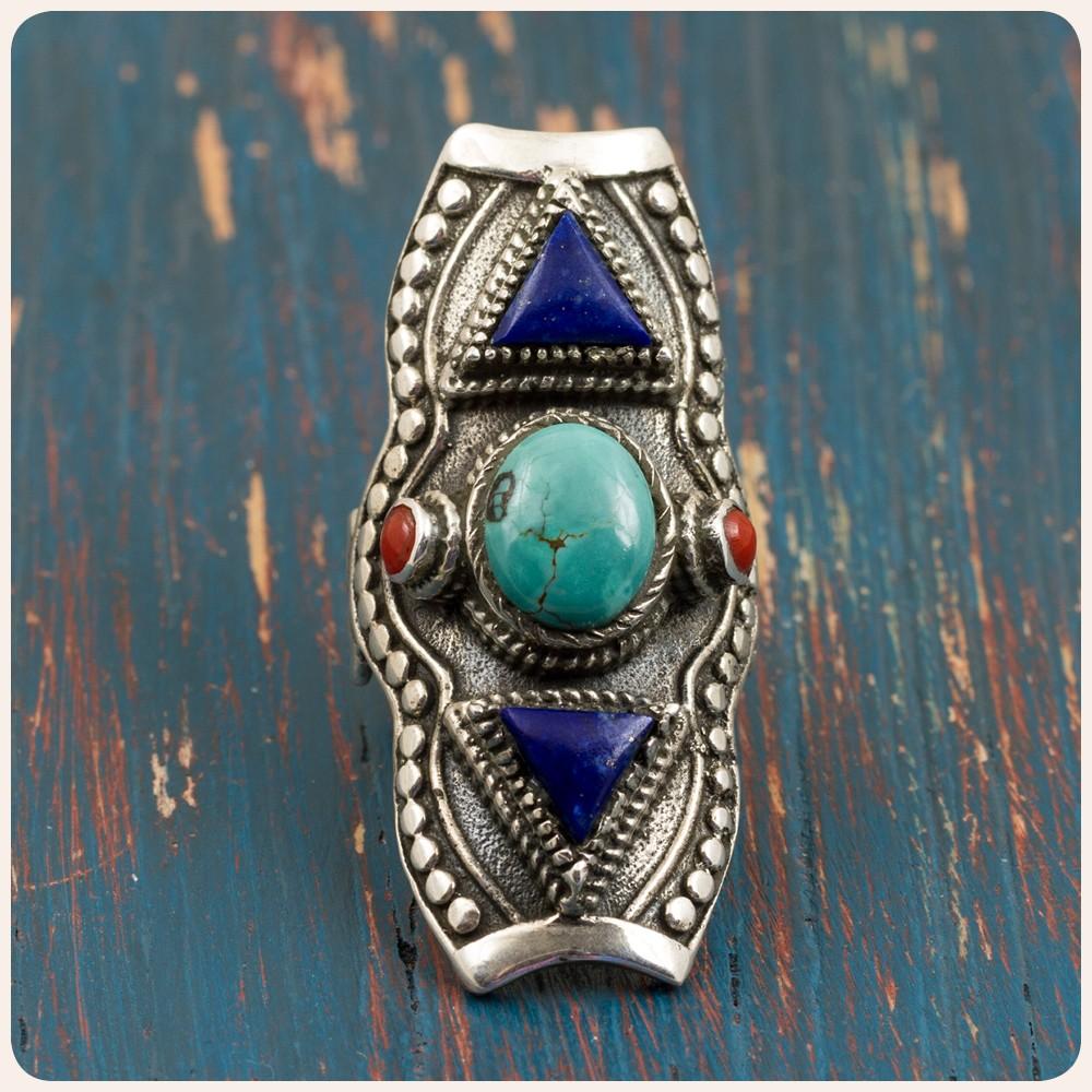 Сребърен пръстен с тюркоаз, лапис лазули и корал - Етно Тибет