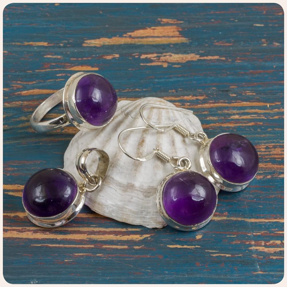 Комплект сребърни обеци, пръстен и медальон с аметист