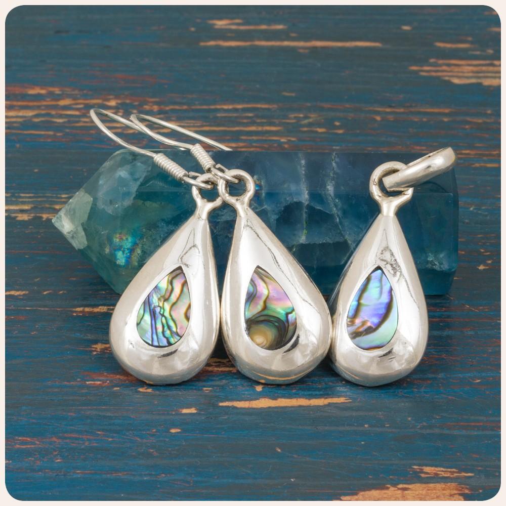 Комплект сребърни обеци и медальон с океански абалон