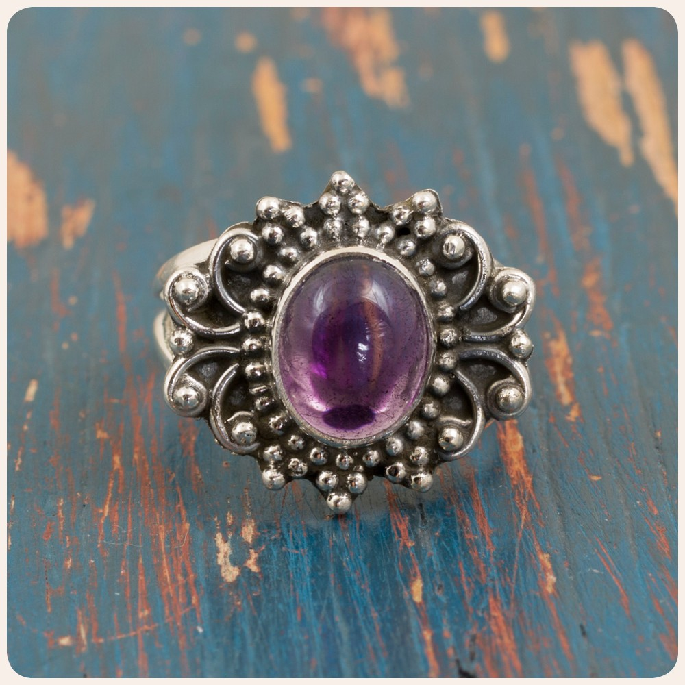 Сребърен пръстен с аметист