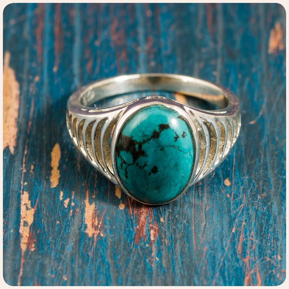 Сребърен пръстен с тюркоаз
