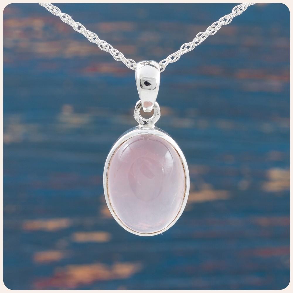Сребърен медальон с розов кварц