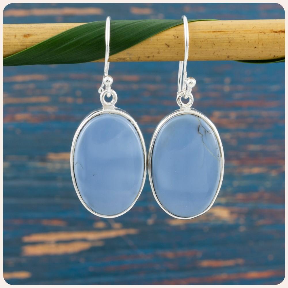 Сребърни обеци със син опал