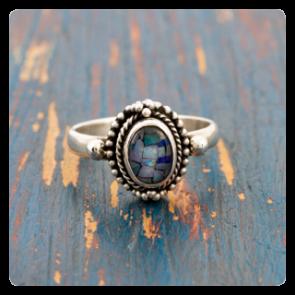 Сребърен пръстен с мозаечен опал