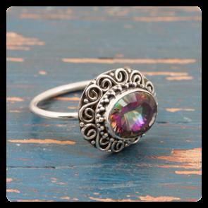 Сребърен пръстен с мистик топаз
