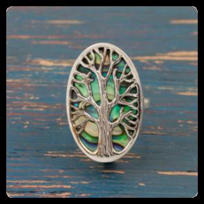 """Сребърен пръстен """"Дървото на живота"""" върху океански абалон"""