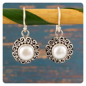 Сребърни обеци с перла