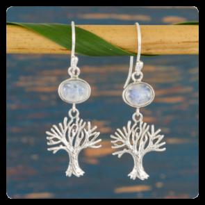 """Сребърни обеци """"Дървото на живота"""" с лунен камък"""