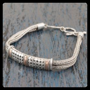 Сребърна гривна сребро със злато