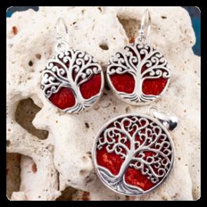 """Комплект сребърен медальон и обеци """"Дървото на живота"""" върху корал"""