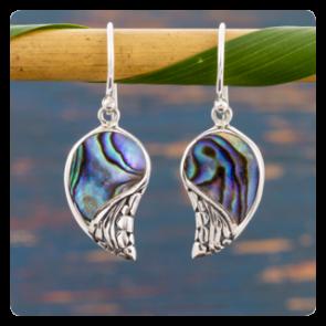 """Сребърни обеци """"Ангелски крила"""" с океански абалон"""