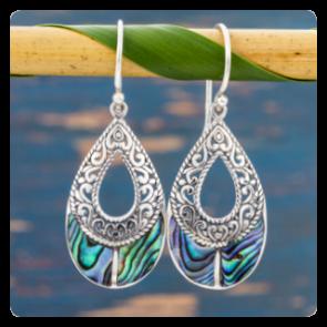 Сребърни обеци с океански абалон