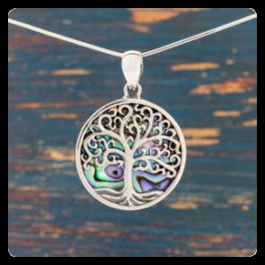 """Сребърен медальон  """"Дървото на живота"""" върху океански абалон"""