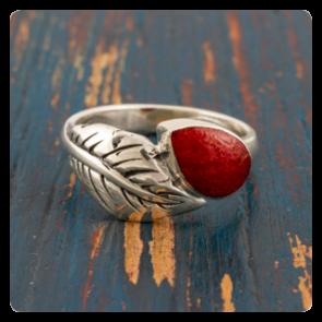 Сребърен пръстен листо с корал