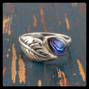 Сребърен пръстен листо с океански абалон