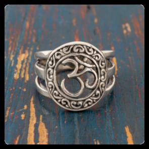 """Сребърен пръстен със символ """"ОМ"""""""