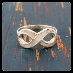 """Сребърен пръстен  """"безкрайност"""" със седеф"""