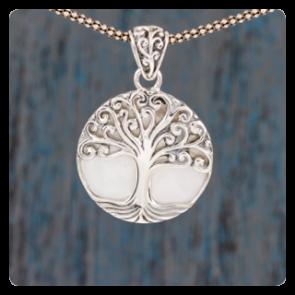 """Сребърен медальон """"Дървото на живота"""" върху седеф"""