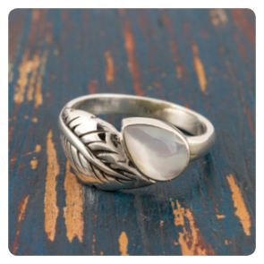 Сребърен пръстен листо със седеф