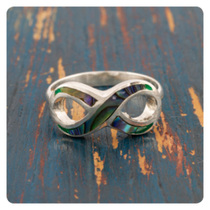"""Сребърен пръстен """"безкрайност"""" с океански абалон"""