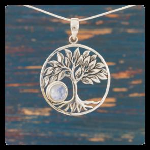 """Сребърен медальон """"Дървото на живота"""" с лунен камък"""