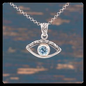 """Медальон """"Сребърно око"""" с топаз"""