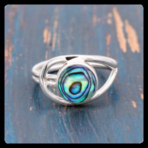Сребърен пръстен с океански абалон