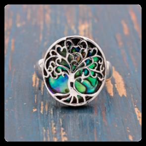 """Сребърен пръстен """"Дървото на живота"""" с океански абалон"""
