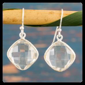 Сребърни обеци с планински кристал