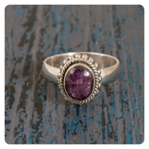 Сребърен пръстен със звезден рубин