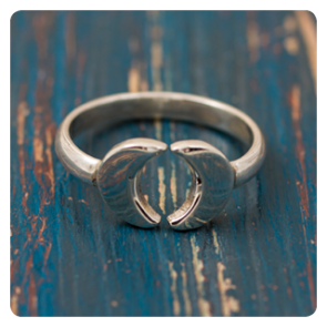 """Сребърен пръстен """"Две луни"""""""