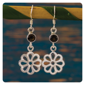 Сребърно цвете с опушен кварц