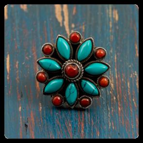 Сребърен пръстен с тюркоаз и корал - Етно Тибет