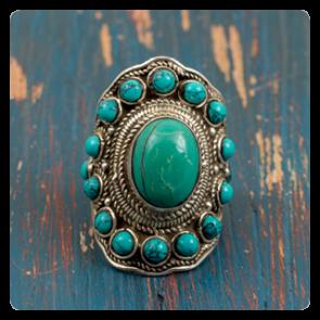 Сребърен пръстен с тюркоаз - Етно Тибет