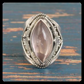Сребърен пръстен с розов кварц