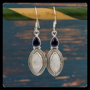 Сребърни обеци с лунен камък и син корунд - сапфир