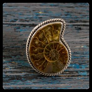Сребърен пръстен с амонит