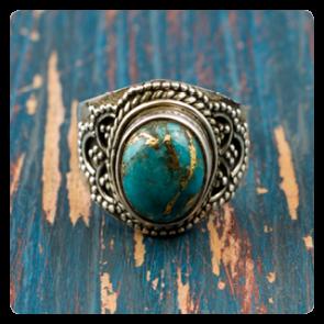 Сребърен пръстен със син меден тюркоаз