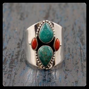 Сребърен пръстен с тюркоаз и корал