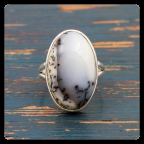 Сребърен пръстен с дендритов ахат