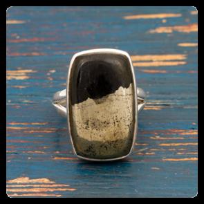 Сребърен пръстен с Apache Gold (Халкопирит)