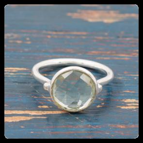 Сребърен пръстен фасетиран зелен аметист - празиолит