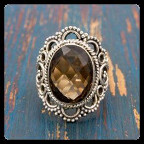 Сребърен пръстен с опушен кварц