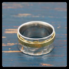 Сребърен пръстен с месинг