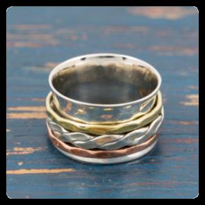 Сребърен пръстен с мед и месинг